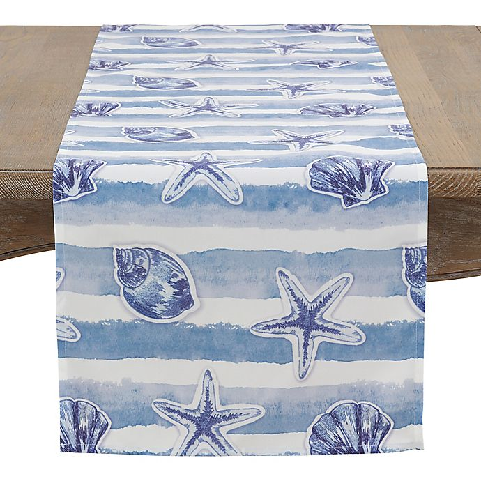 Alternate image 1 for Saro Lifestyle 72-Inch Coquille Table Runner in Aqua