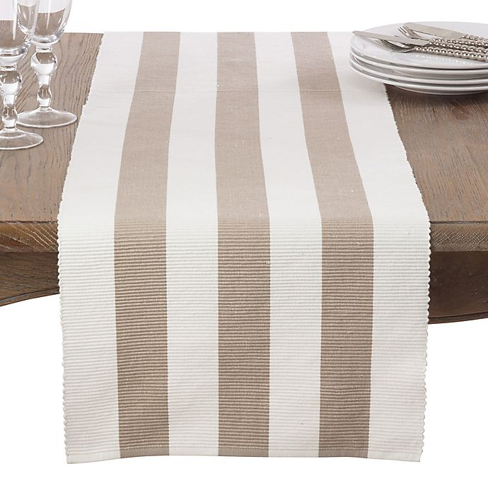 Alternate image 1 for Saro Lifestyle 72-Inch Canelado Table Runner in Taupe