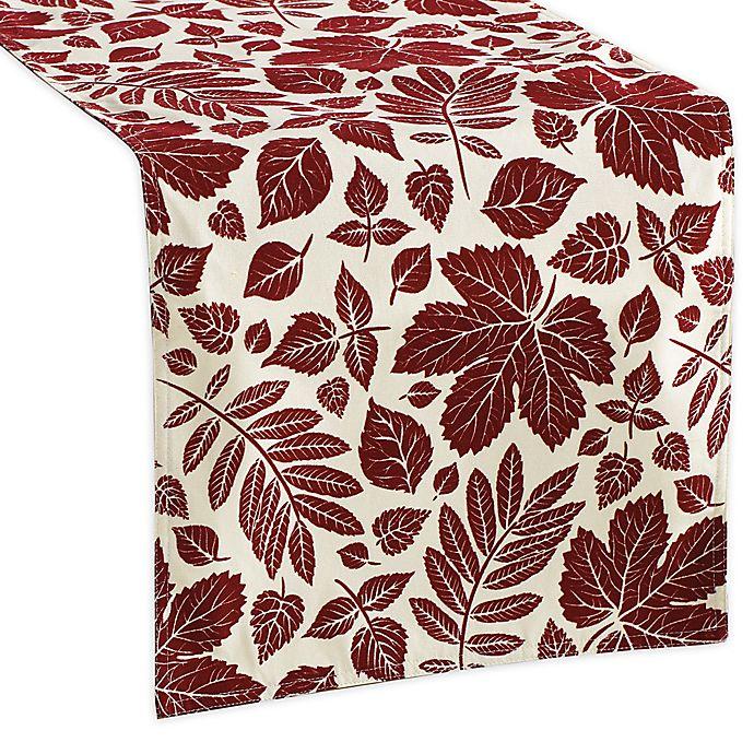 Alternate image 1 for Aspen Leaves Velvet Flocked Table Runner in Burgundy