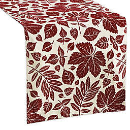Aspen Leaves Velvet Flocked Table Runner in Burgundy