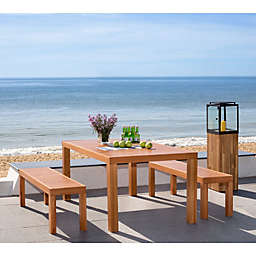Safavieh Dario 3-Piece Wood Dining Set in Teak