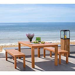 Safavieh Dario 3-Piece Wood Dining Set in Teak