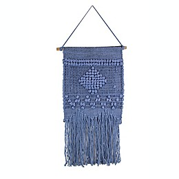 Marmont Hill Blue Diamond Macrame 12-Inch x 24-Inch Wall Hanging