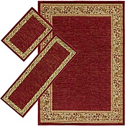 Surya Midtown Floral 3-Piece Loomed Area Rug Set in Dark Red