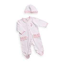 Little Me® Blue Pink Heart Footie with Cap