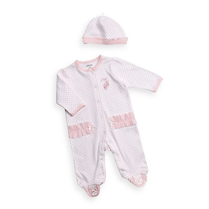 Alternate image 1 for Little Me® Blue Pink Heart Footie with Cap