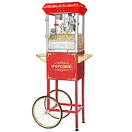 Superior Popcorn Company Carnival Popper Machine with Cart in Red