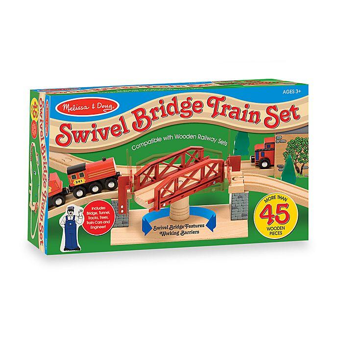Alternate image 1 for Melissa & Doug® Swivel Bridge Train Set