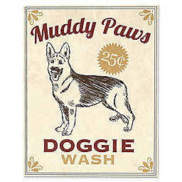 """Astra Art """"Muddy Paws Doggie Wash"""" Metal Wall Art in Red"""