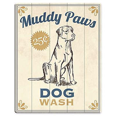 "Astra Art ""Muddy Paws Dog Wash"" Wood Wall Art in Blue"