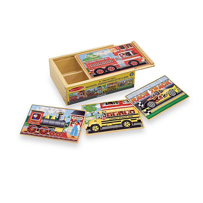 Alternate image 1 for Melissa & Doug® Vehicles Jigsaw Puzzles In A Box (Set of 4 Puzzles)