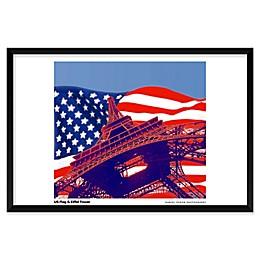 Daniel Furon's US Flag, Eiffel Tower 25-Inch x 37-Inch Wall Art
