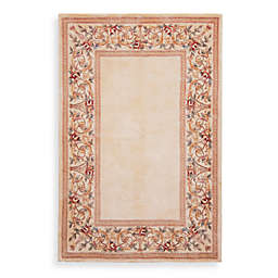 KAS Ruby Floral Border Area Rugs in Ivory