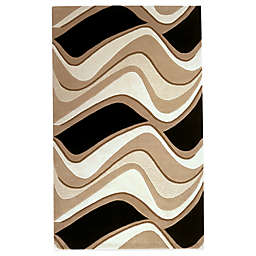 KAS Eternity Black & Beige Waves Area Rugs