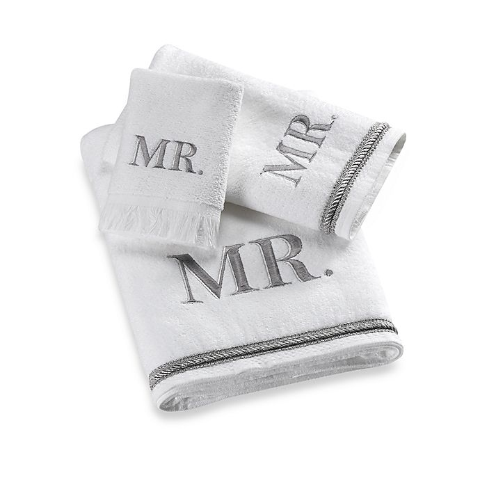 "Monogram Towels For Bathroom: Avanti Silver Block Monogram ""Mr."" Bath Towel Collection"