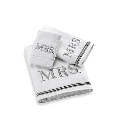 "Avanti Silver Block Monogram ""Mrs."" Bath Towel Collection"