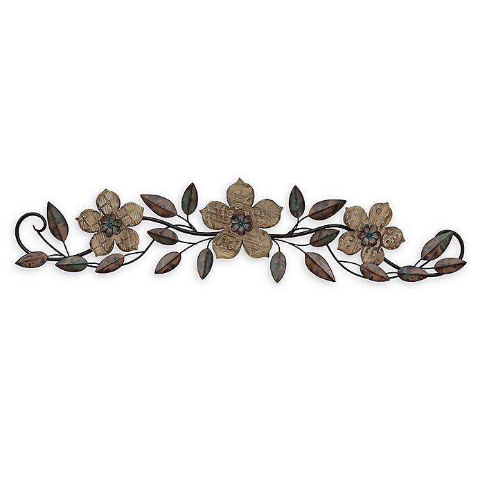 Alternate image 1 for Stratton Home Decor Floral Over the Door 37.99-Inch x 8.86-Inch Wood Wall Art