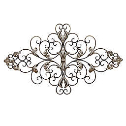 Stratton Home Decor Ornate Scroll Wall Sculpture in Champagne