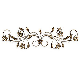 Stratton Home Decor Vintage Scroll 11-Inch x 38-Inch Metal Wall Art in Antique Gold