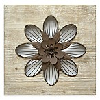 Stratton Home Décor Rustic Flower 14-Inch Square Wall Art in Espresso