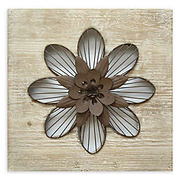 Stratton Home Décor Rustic Flower 14-Inch Square Wall Art in Espresso