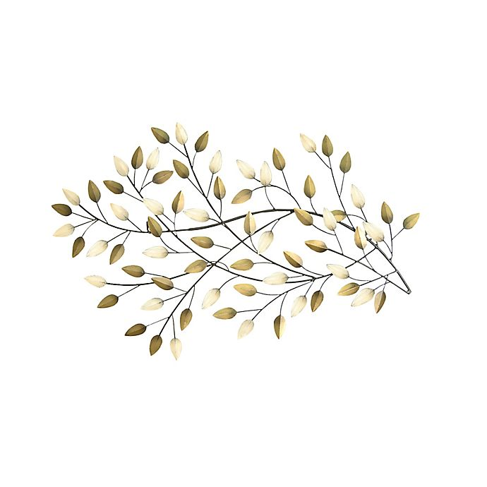 Alternate image 1 for Stratton Home Décor Champagne & Bronze Floral 12-Inch x 32-Inch Panel Wall Art