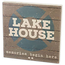 Primitives by Kathy -InchLake House-Inch 19-Inch x 19-Inch Box Sign in Grey