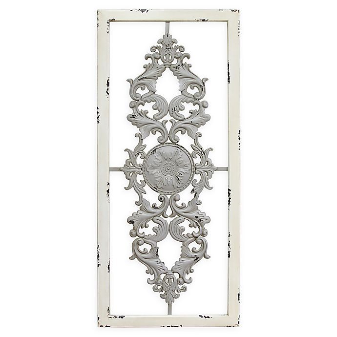 88b6b74846 Stratton Home Décor Grey Scroll 16-Inch x 36-Inch Metal Panel ...