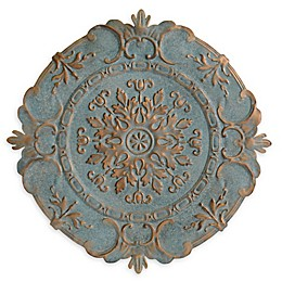 Stratton Home Décor Blue European Medallion 30-Inch Circular Metal Wall Art