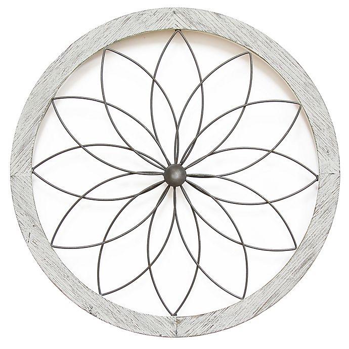 Alternate image 1 for Stratton Home Décor Art Deco Flower 26-Inch Diameter Framed Metal Wall Art