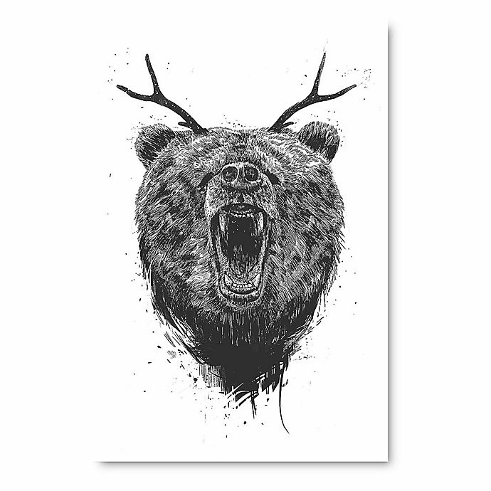 Alternate image 1 for Courtside Market Angry Bear with Antlers Wall Art