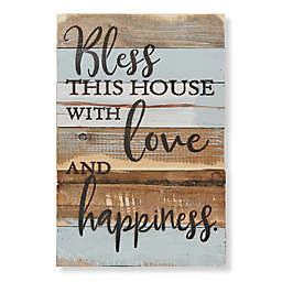 """Sweet Bird & Co. """"Bless This House"""" 12-Inch x 18-Inch Wood Wall Art"""
