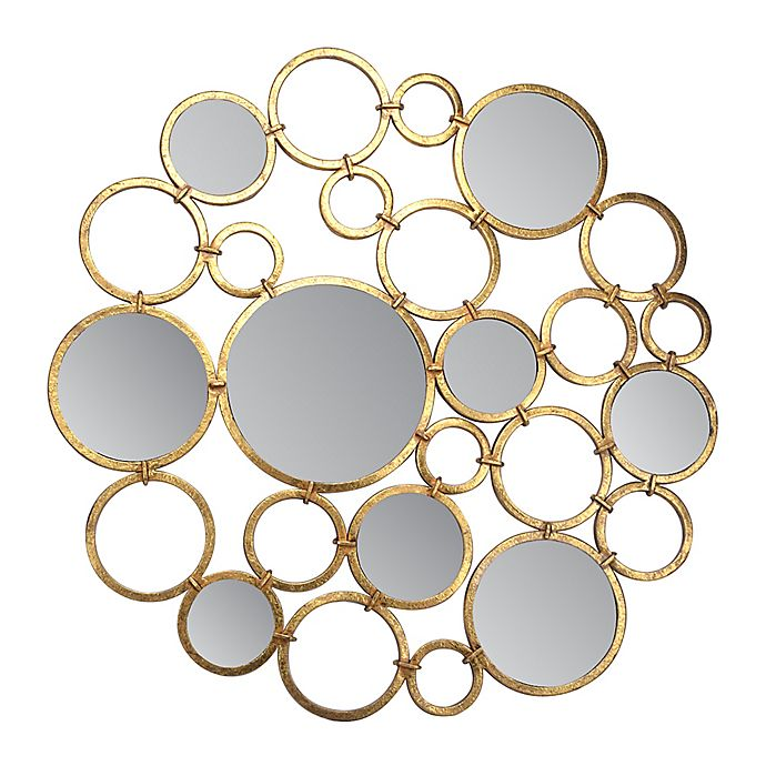 Alternate image 1 for 30-Inch Round Art Mirror in Gold