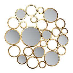 30-Inch Round Art Mirror in Gold