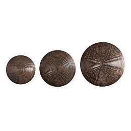 Uttermost Hanneli 3-Piece Ribbed Circles Metal Wall Art in Bronze