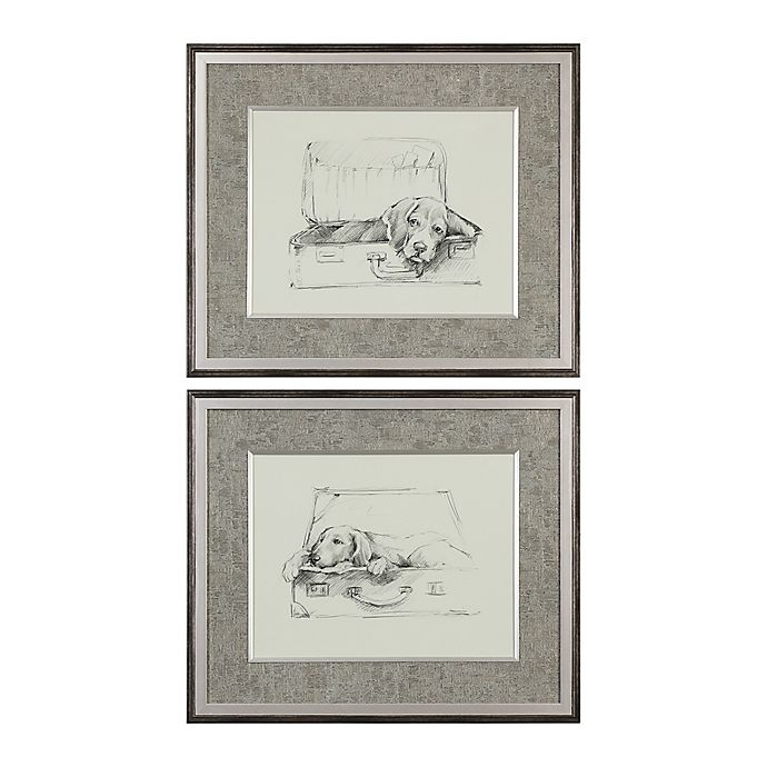 Alternate image 1 for Uttermost Stowaway Dog 11-Inch x 13-Inch Framed Wall Art Prints (Set of 2)