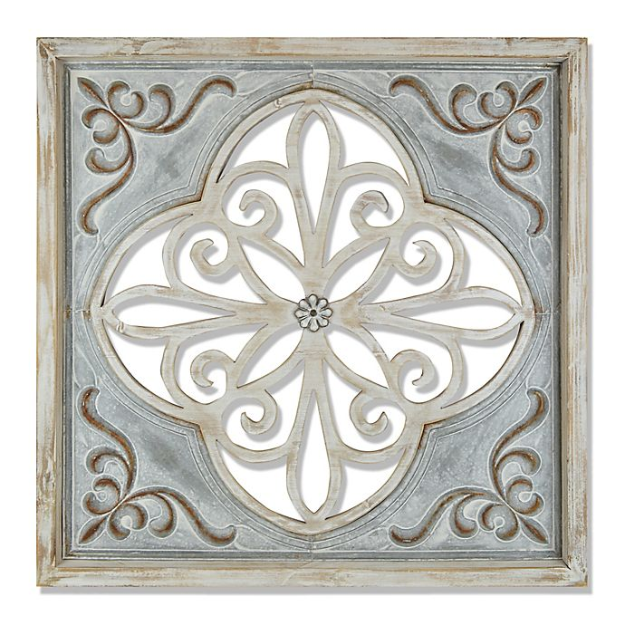 Distressed Wood and Iron Wall Decor in Grey/Blue | Bed ...