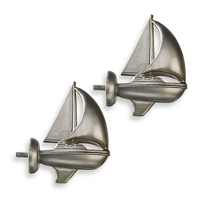 Alternate image 1 for Cambria® Complete Brushed Nickel Boat Finials (Set of 2)