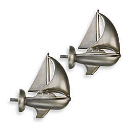 Cambria® Complete Brushed Nickel Boat Finials (Set of 2)