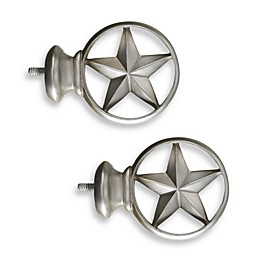 Cambria® Complete Brushed Nickel Texas Star Finials (Set of 2)