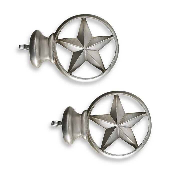 Alternate image 1 for Cambria® Complete Brushed Nickel Texas Star Finials (Set of 2)