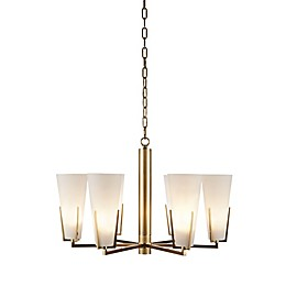 Hampton Hill Avignon 6-Light Chandelier with Glass Shade in White/Gold