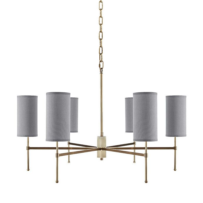 Alternate image 1 for Hampton Hill Conrad 6-Light Chandelier in Gold with Grey Linen Shades