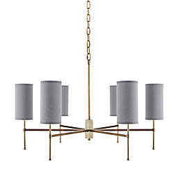 Hampton Hill Conrad 6-Light Chandelier in Gold with Grey Linen Shades