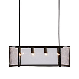 INK+IVY Hopkins 4-Light Pendant in Black with Glass Shades