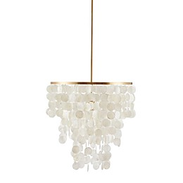 Madison Park Signature Isla 1-Light Ceiling-Mount Chandelier with White Shell Shade