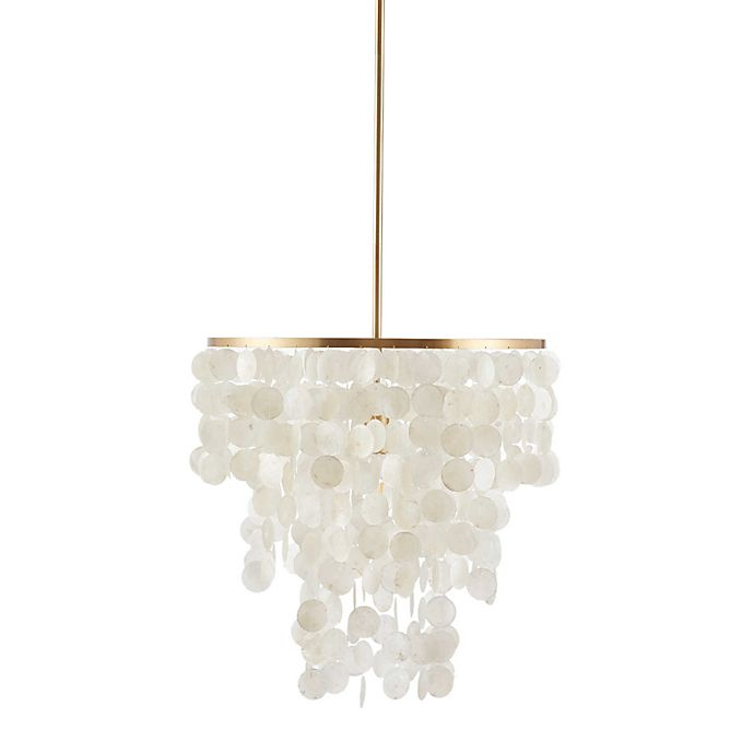 Alternate image 1 for Urban Habitat Isla 1-Light Ceiling-Mount Chandelier with White Shell Shade