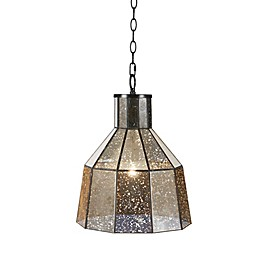 Hampton Hill Bancroft 1-Light Ceiling-Mount Pendant in Black with Mercury Glass Shade