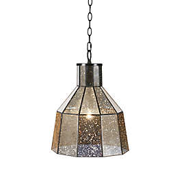 Hampton Hill Bancroft 1-Light Ceiling-Mount Pendant in Black with Mercury Glass Shade