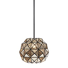 Madison Park Signature Harlowe 1-Light Semi-Flush Mount Pendant Light  in Black